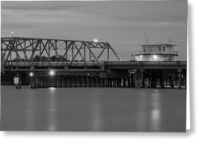 Topsail Island Bridge B  W Greeting Card by Mike McGlothlen