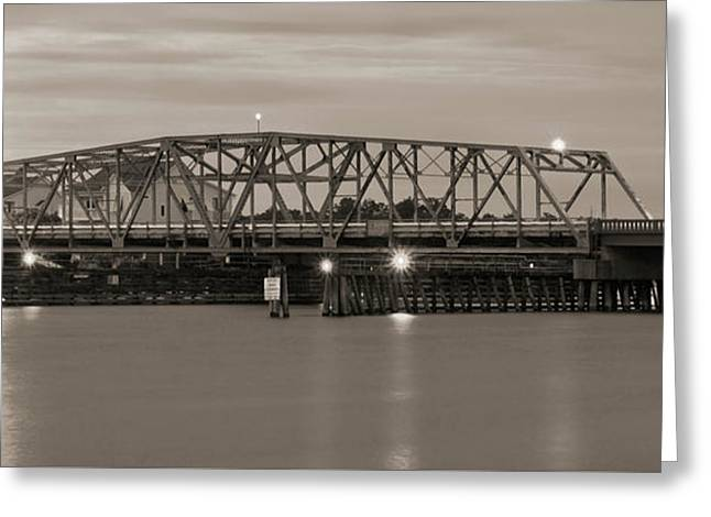 Topsail Island Bridge Sepia Greeting Card by Mike McGlothlen