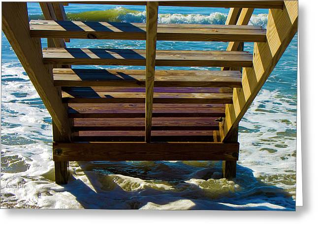 Topsail Island Ocean Steps Greeting Card by Betsy Knapp