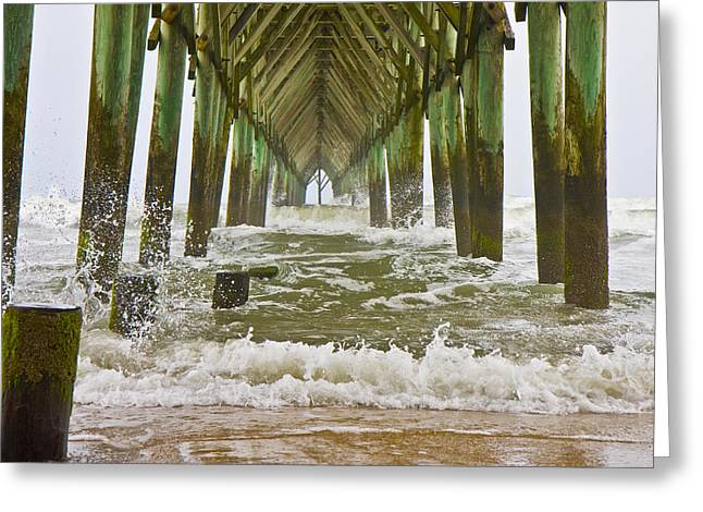 Topsail Island Pier Greeting Card by Betsy Knapp