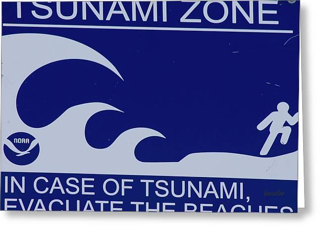 Topsail Island's Tsunami Zone Sign Greeting Card