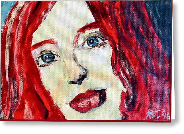 Tori Amos Red Greeting Card by Rachel  Trapp