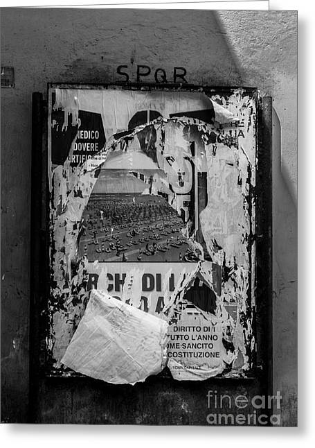 Torn Posters Rome Italy Greeting Card by Edward Fielding
