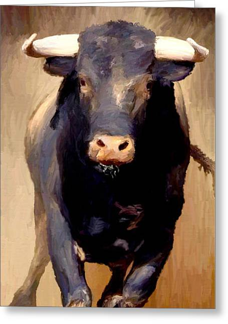 Greeting Card featuring the painting Bull Toro Bravo by James Shepherd