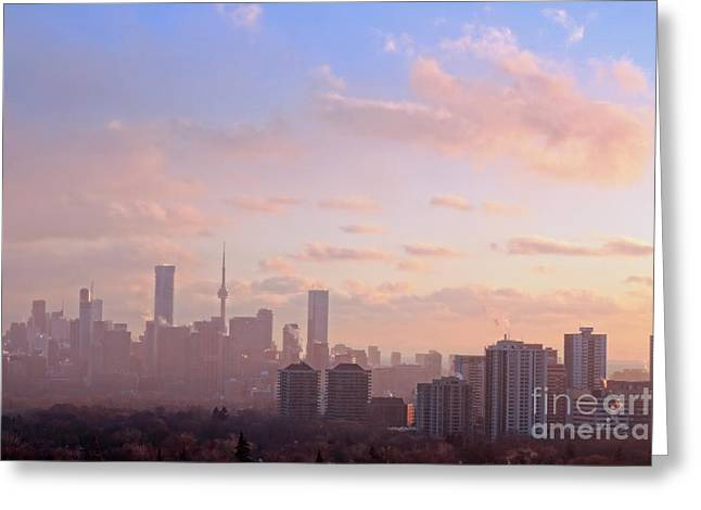 Greeting Card featuring the photograph Toronto 2017 Warm Winter Fog by Charline Xia