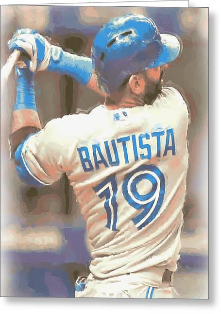 Toronto Blue Jays Jose Bautista 2 Greeting Card by Joe Hamilton