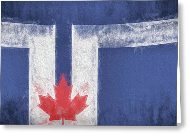 Greeting Card featuring the digital art Toronto Canada City Flag by JC Findley