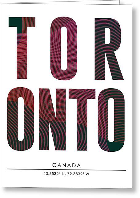 Toronto, Canada - City Name Typography - Minimalist City Posters Greeting Card