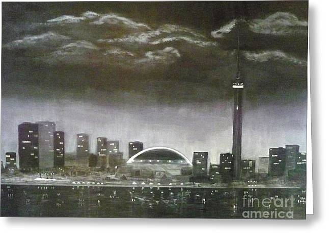 Toronto Cn Tower Skyline Greeting Card by Monika Shepherdson
