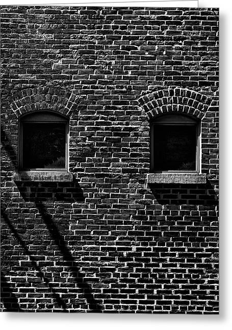 Greeting Card featuring the photograph Toronto Distillery District Windows No 1 by Brian Carson