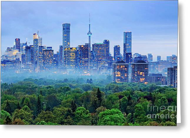 Toronto Downtown And Midtown Evening Clouds Greeting Card by Charline Xia