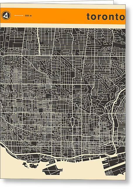 Toronto Map Greeting Card by Jazzberry Blue