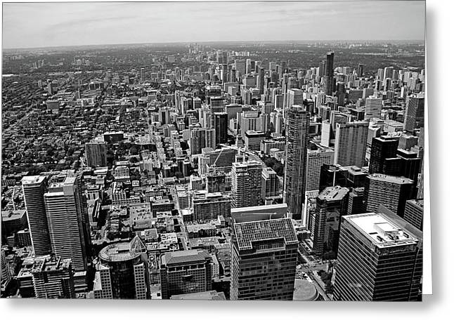 Toronto Ontario Scrapers In Black And White Greeting Card by Debbie Oppermann