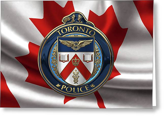 Toronto Police Service  -  T P S  Emblem Over Canadian Flag Greeting Card