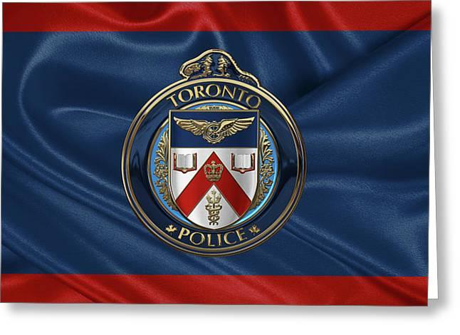 Toronto Police Service  -  T P S  Emblem Over Flagtoronto Police Service  -  T P S  Emblem Over Flag Greeting Card