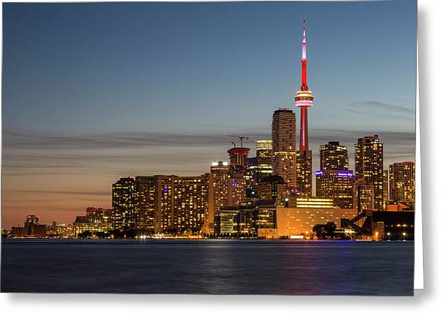 Greeting Card featuring the photograph Toronto Skyline At Dusk by Adam Romanowicz