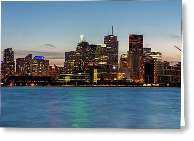 Greeting Card featuring the photograph Toronto Skyline At Dusk Panoramic by Adam Romanowicz