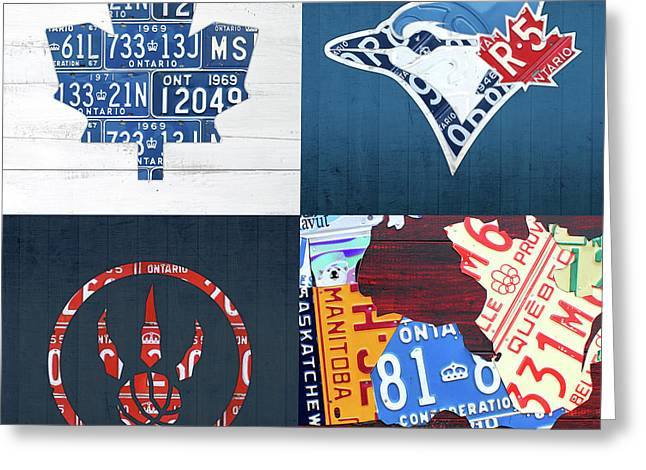 Toronto Sports Team License Plate Art Ontario Map Blue Jays Maple Leafs Raptors Greeting Card by Design Turnpike