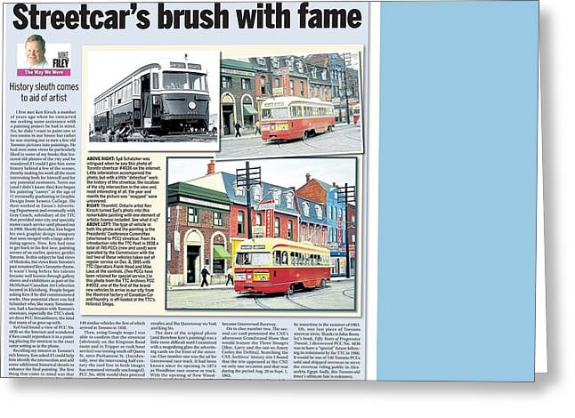 Greeting Card featuring the painting Toronto Sun Article Streetcars Brush With Fame by Kenneth M Kirsch
