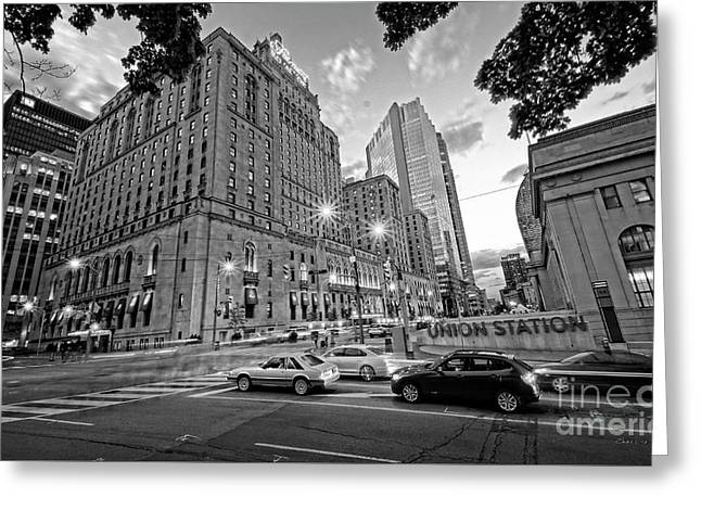 Toronto Union Station And Fairmont Royal York Hotel Greeting Card