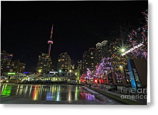 Toronto Warm Christmas Eve Skating Rink Greeting Card by Charline Xia
