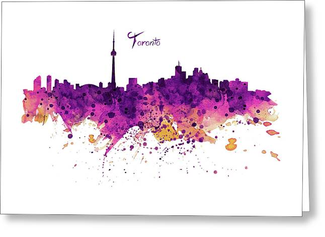 Toronto Watercolor Skyline Greeting Card by Marian Voicu