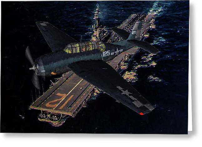 Torpedo Squadron Seventeen - Oil Greeting Card by Tommy Anderson