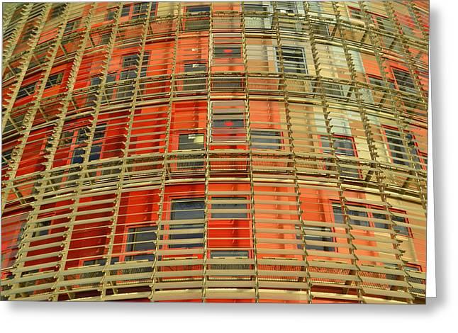 Torre Agbar Modern Facade Greeting Card by Marek Stepan