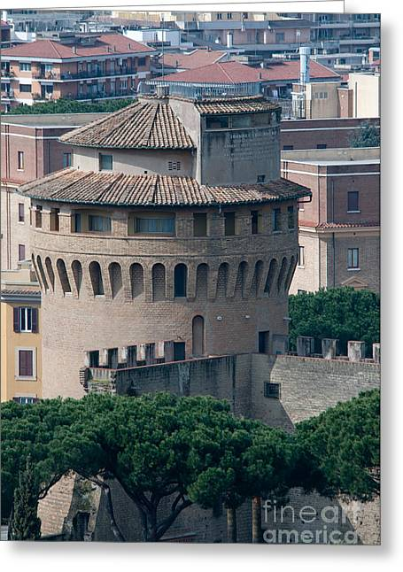 Torre San Giovanni St Johns Tower On The Ramparts Of The Walls Of The Vatican City Rome Greeting Card by Andy Smy