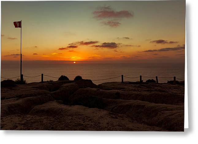 Greeting Card featuring the photograph Torrey Pine Glider Port Sunset by Jeremy McKay
