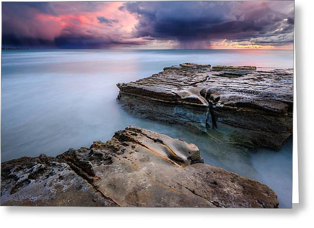 Greeting Card featuring the photograph Torrey Pines - Flat Rock Storm by Alexander Kunz