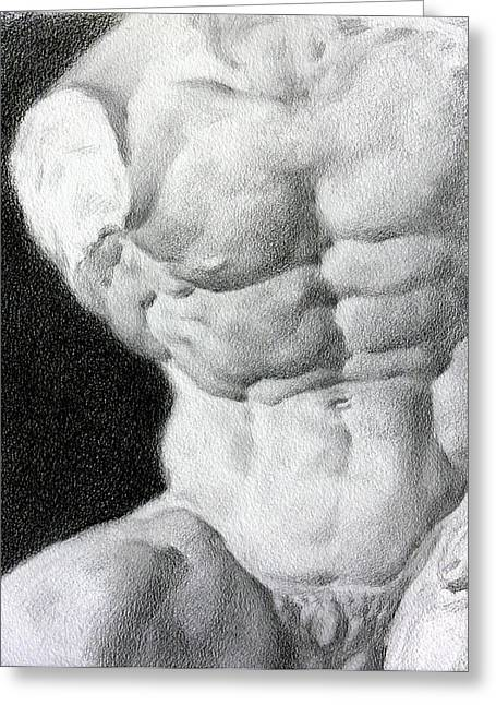 Greeting Card featuring the drawing Torso 1a by Valeriy Mavlo