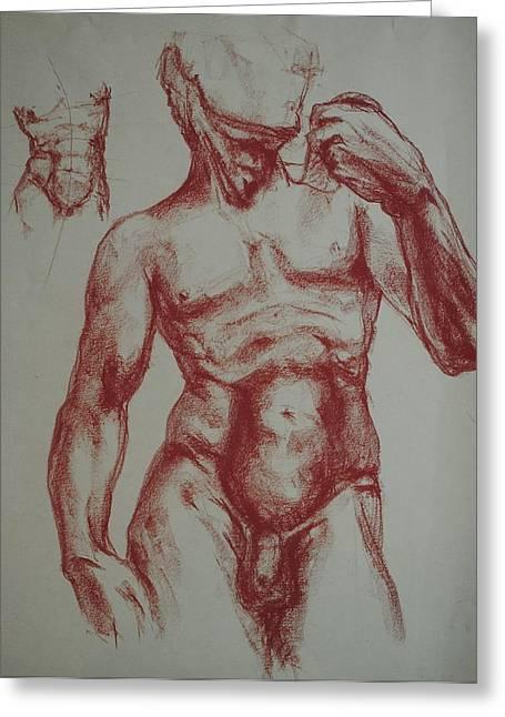 Torso Of  Michelangelo   David  Greeting Card by Chris  Riley