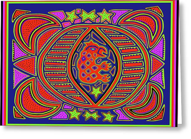 Greeting Card featuring the digital art Tortuga Shaman Spirits by Vagabond Folk Art - Virginia Vivier