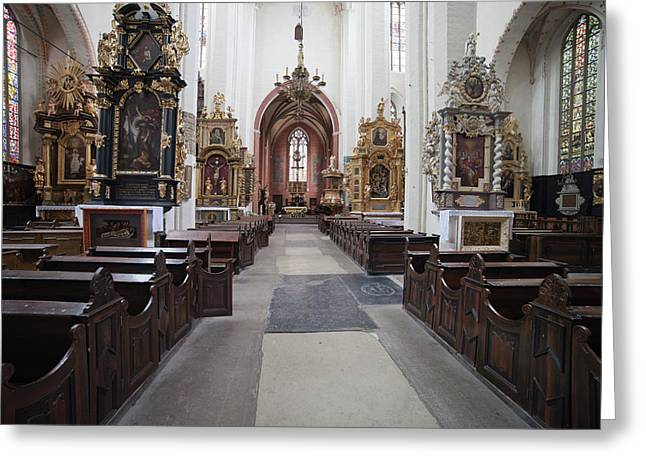 Torun Cathedral Interior In Poland, Greeting Card by Artur Bogacki