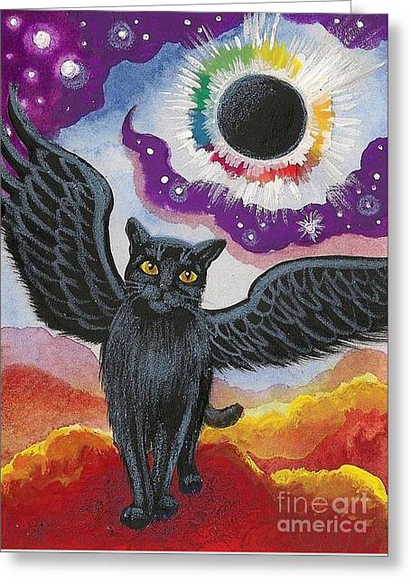 Total Eclipse Of The Sun Greeting Card by Margaryta Yermolayeva