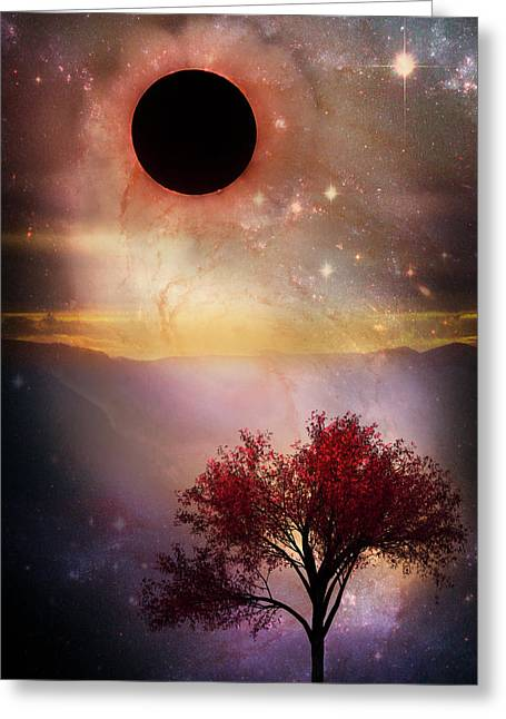 Total Eclipse Of The Sun Tree Art Greeting Card