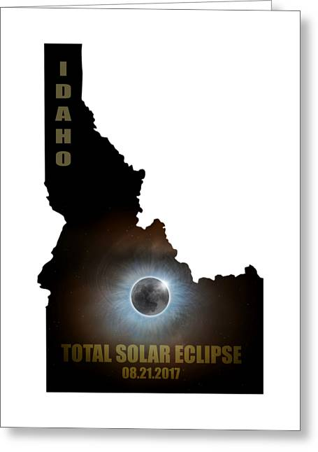 Total Solar Eclipse In Idaho Map Outline Greeting Card by David Gn
