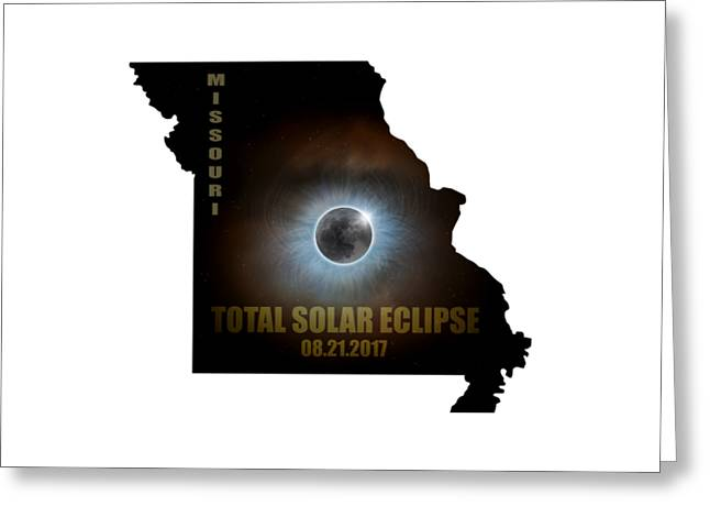 Total Solar Eclipse In Missouri Map Outline Greeting Card by David Gn