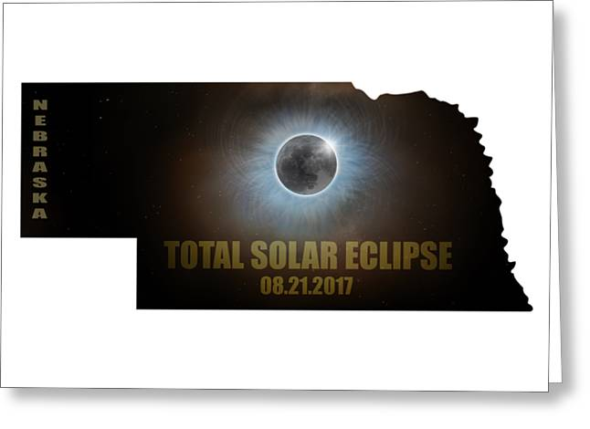 Total Solar Eclipse In Nebraska Map Outline Greeting Card by David Gn