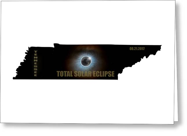 Total Solar Eclipse In Tennessee Map Outline Greeting Card by David Gn
