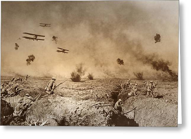 Total Trench Warfare World War One  1918 Greeting Card by Daniel Hagerman