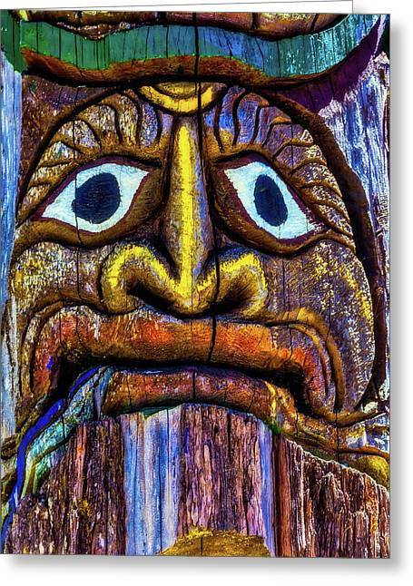Totem Colorful Face Greeting Card by Garry Gay