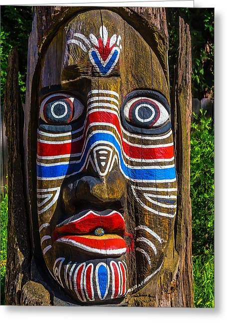 Totem Face Greeting Card by Garry Gay