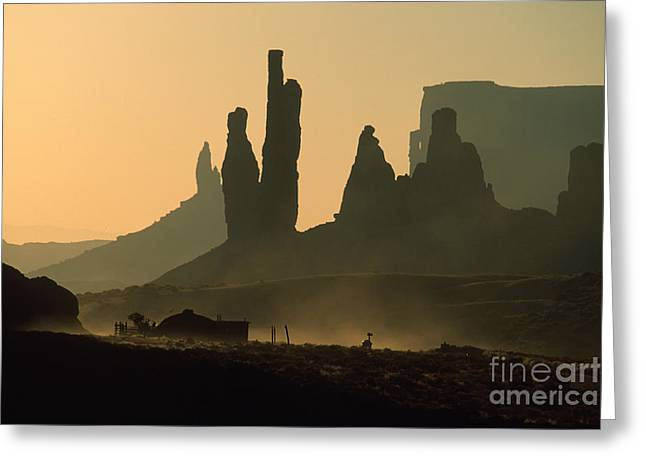 Totems At Sunrise Greeting Card by Stan and Anne Foster
