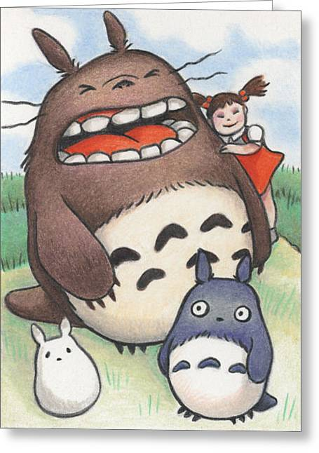 Totoro And Friends After Hayao Miyazaki Greeting Card by Amy S Turner