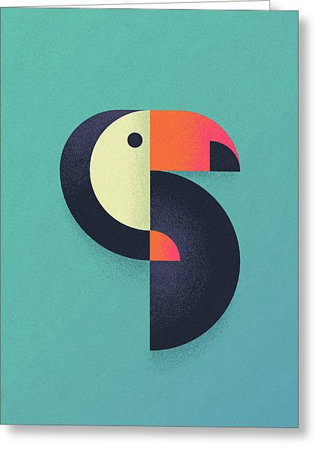 Toucan Geometric Airbrush Effect Greeting Card by Ivan Krpan