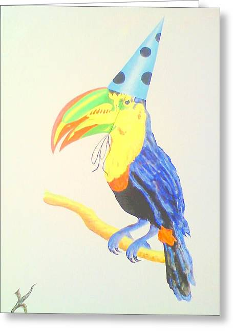 Toucan With  Party Hat Greeting Card by Roger Golden