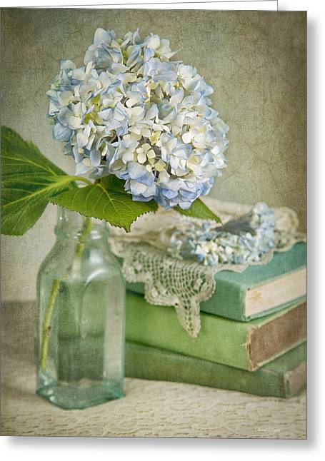 Touch Of Blue Greeting Card by Cheryl Davis