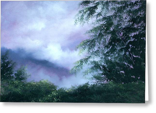 Fog Mist Paintings Greeting Cards - Touch of Blue Greeting Card by Sally Seago